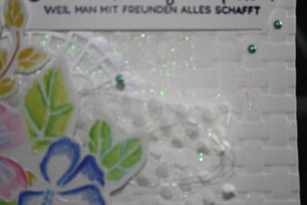 Stampin'up!, Freundschaftskarte, gepunktetes Tüllband, meeresgrüne Perlen